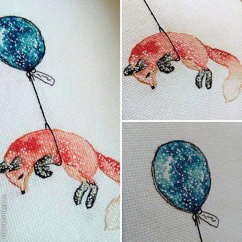 Схема для вышивки Лисичка на шарике. Отшив.